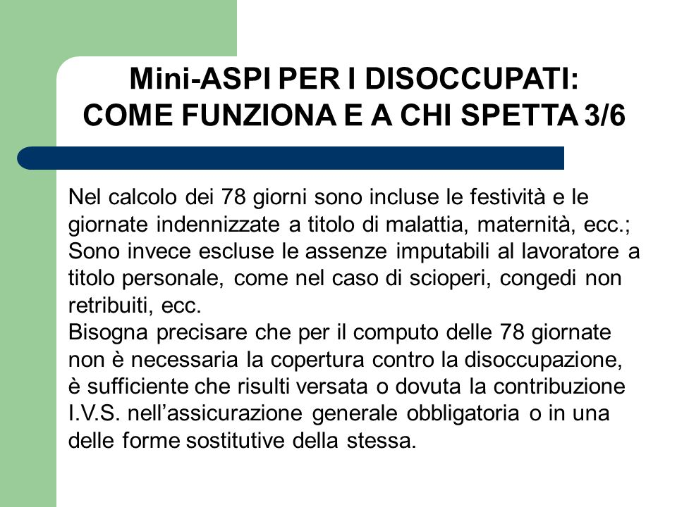 Mini-ASPI PER I DISOCCUPATI: COME FUNZIONA E A CHI SPETTA 3/6