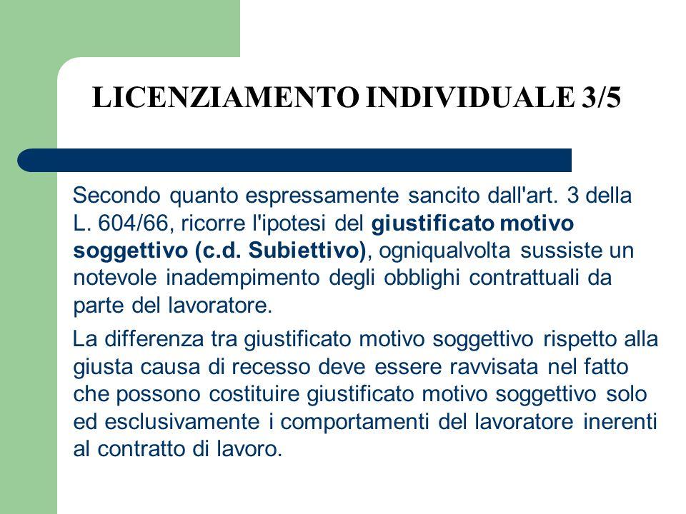 LICENZIAMENTO INDIVIDUALE 3/5