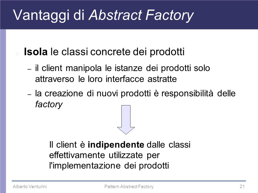 Vantaggi di Abstract Factory