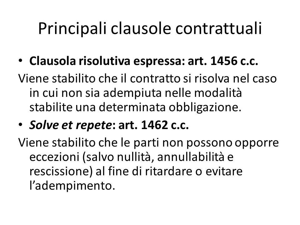 Principali clausole contrattuali