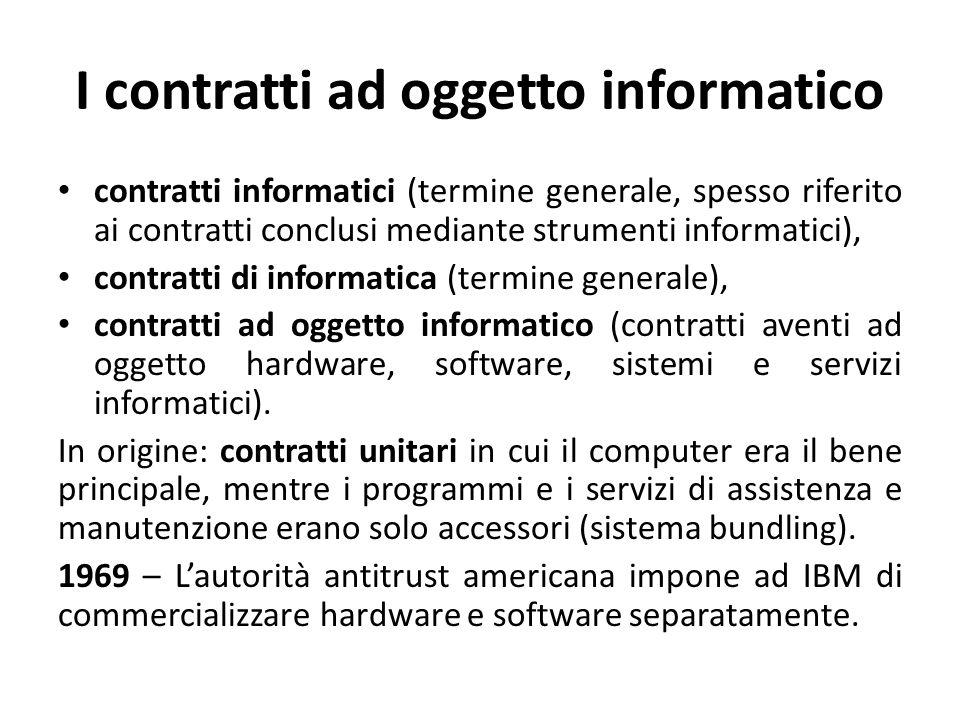 I contratti ad oggetto informatico