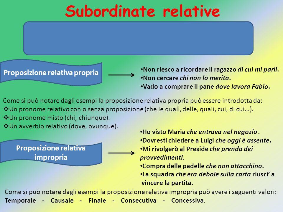 Subordinate relative La subordinata relativa è una proposizione che svolge. la funzione di un aggettivo oppure di un'apposizione.