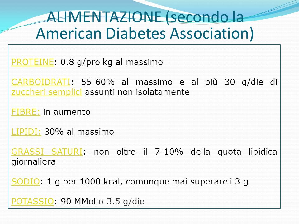 ALIMENTAZIONE (secondo la American Diabetes Association)