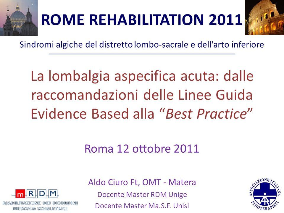 ROME REHABILITATION 2011 Sindromi algiche del distretto lombo-sacrale e dell arto inferiore.