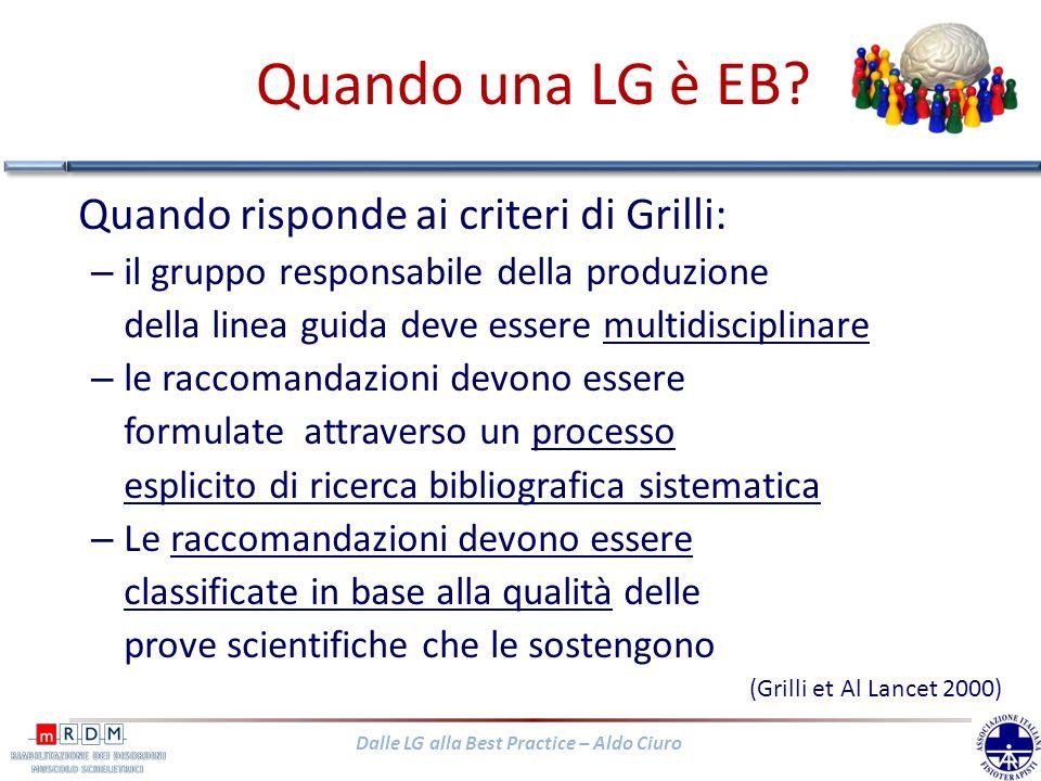 Quando una LG è EB Quando risponde ai criteri di Grilli: