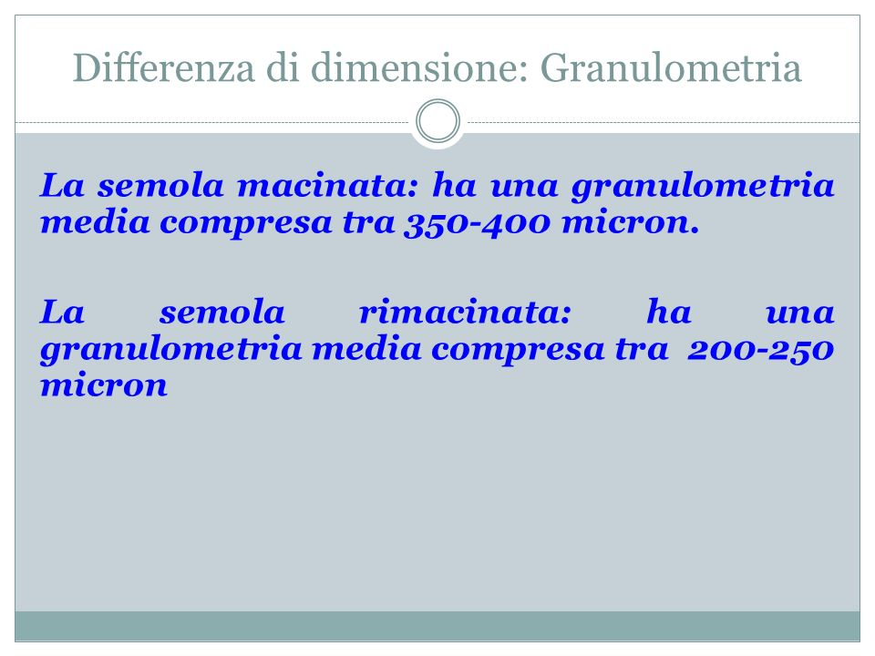 Differenza di dimensione: Granulometria
