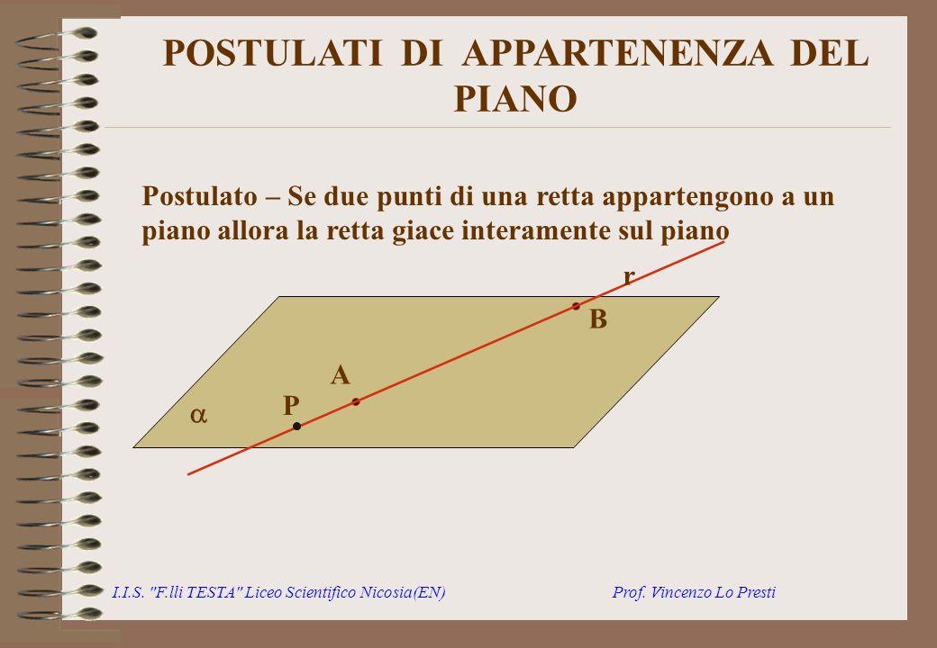POSTULATI DI APPARTENENZA DEL PIANO