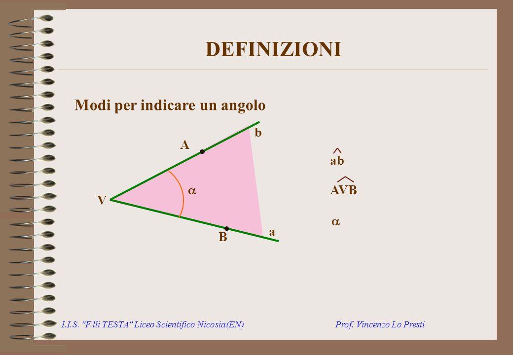 DEFINIZIONI Modi per indicare un angolo b A ab  AVB V  a B