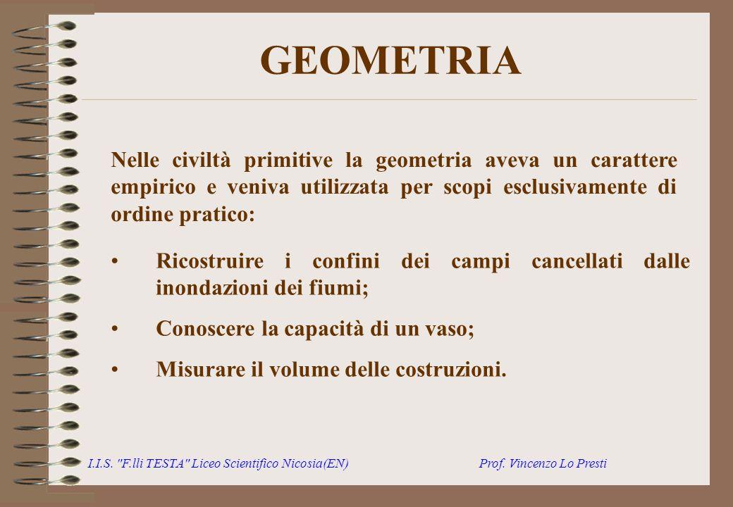 GEOMETRIA Nelle civiltà primitive la geometria aveva un carattere empirico e veniva utilizzata per scopi esclusivamente di ordine pratico: