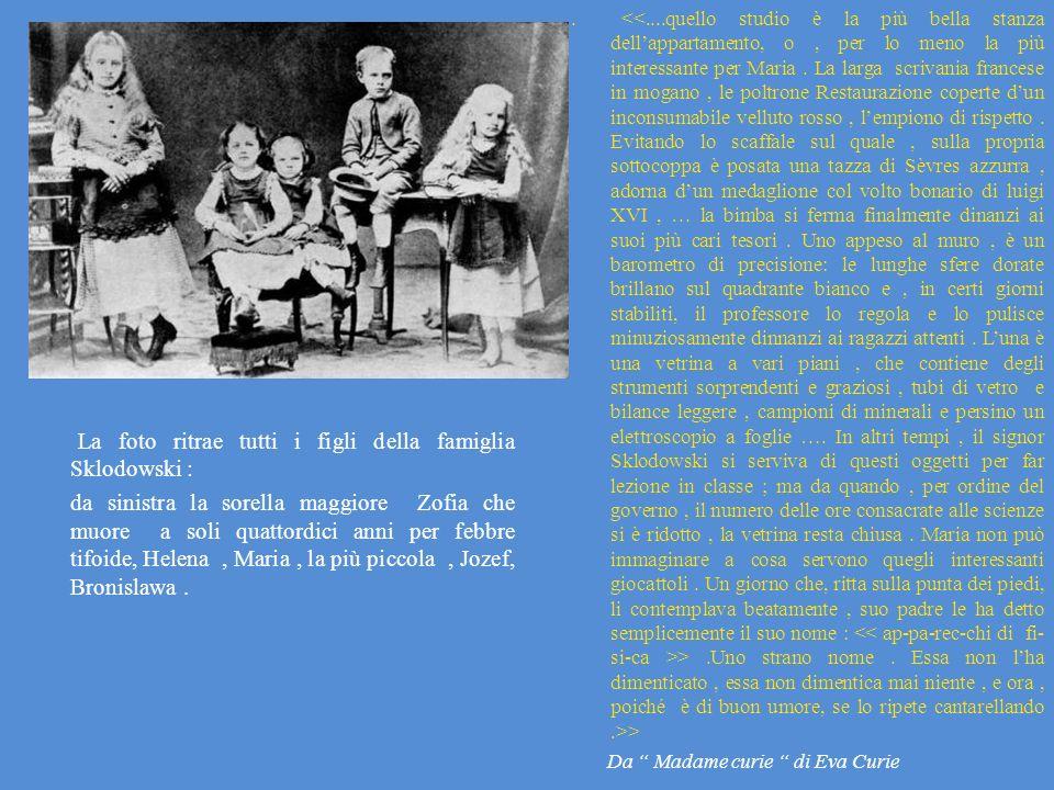 . <<....quello studio è la più bella stanza dell'appartamento, o , per lo meno la più interessante per Maria . La larga scrivania francese in mogano , le poltrone Restaurazione coperte d'un inconsumabile velluto rosso , l'empiono di rispetto . Evitando lo scaffale sul quale , sulla propria sottocoppa è posata una tazza di Sèvres azzurra , adorna d'un medaglione col volto bonario di luigi XVI , … la bimba si ferma finalmente dinanzi ai suoi più cari tesori . Uno appeso al muro , è un barometro di precisione: le lunghe sfere dorate brillano sul quadrante bianco e , in certi giorni stabiliti, il professore lo regola e lo pulisce minuziosamente dinnanzi ai ragazzi attenti . L'una è una vetrina a vari piani , che contiene degli strumenti sorprendenti e graziosi , tubi di vetro e bilance leggere , campioni di minerali e persino un elettroscopio a foglie …. In altri tempi , il signor Sklodowski si serviva di questi oggetti per far lezione in classe ; ma da quando , per ordine del governo , il numero delle ore consacrate alle scienze si è ridotto , la vetrina resta chiusa . Maria non può immaginare a cosa servono quegli interessanti giocattoli . Un giorno che, ritta sulla punta dei piedi, li contemplava beatamente , suo padre le ha detto semplicemente il suo nome : << ap-pa-rec-chi di fi-si-ca >> .Uno strano nome . Essa non l'ha dimenticato , essa non dimentica mai niente , e ora , poiché è di buon umore, se lo ripete cantarellando .>> Da Madame curie di Eva Curie