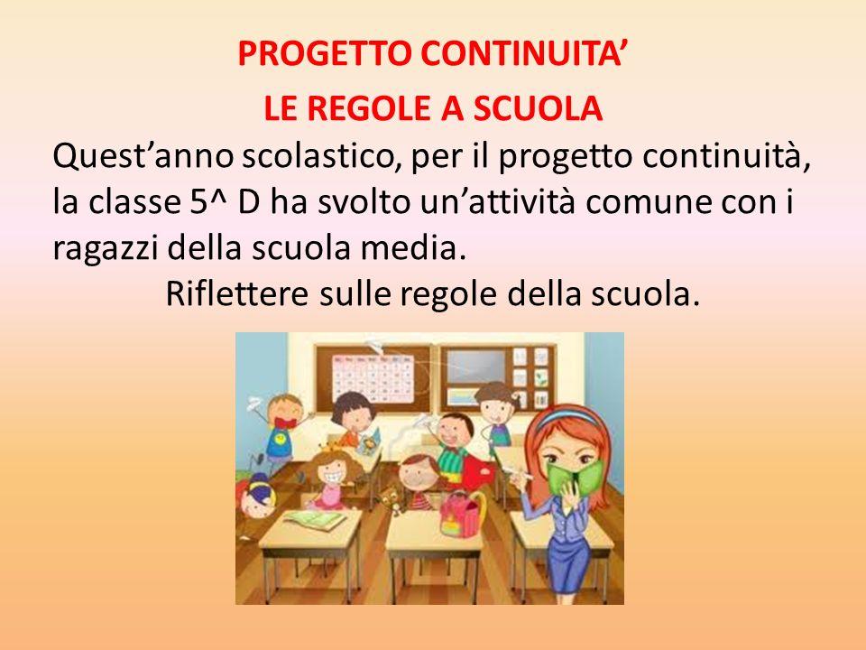Top PROGETTO CONTINUITA' LE REGOLE A SCUOLA Quest'anno scolastico, per  KU44