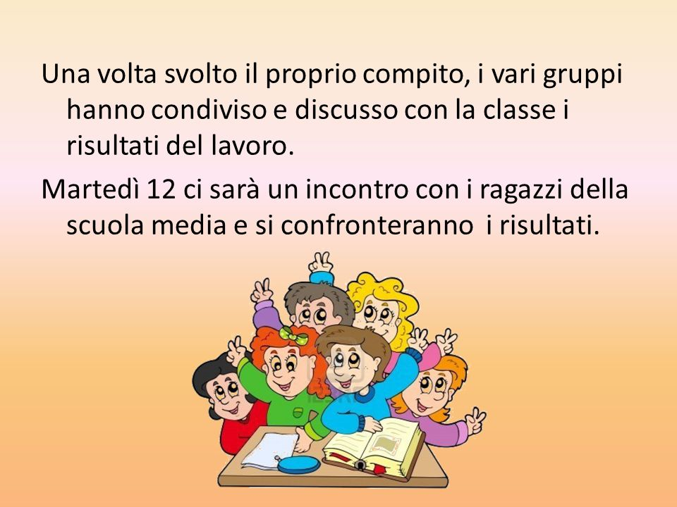 Una volta svolto il proprio compito, i vari gruppi hanno condiviso e discusso con la classe i risultati del lavoro.