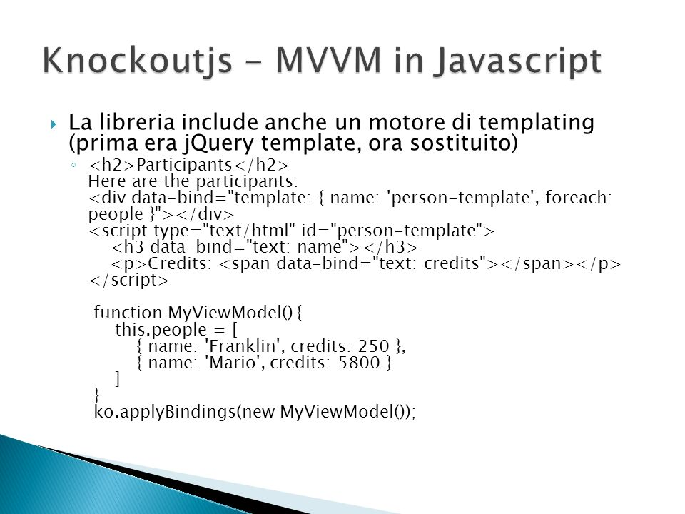 Knockoutjs - MVVM in Javascript