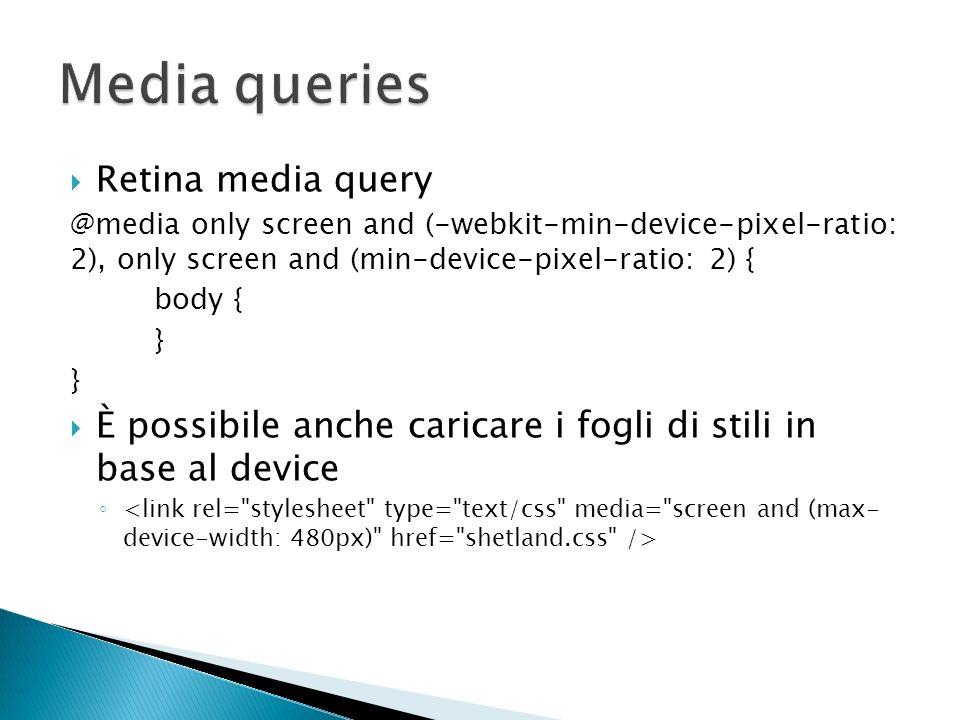Media queries Retina media query