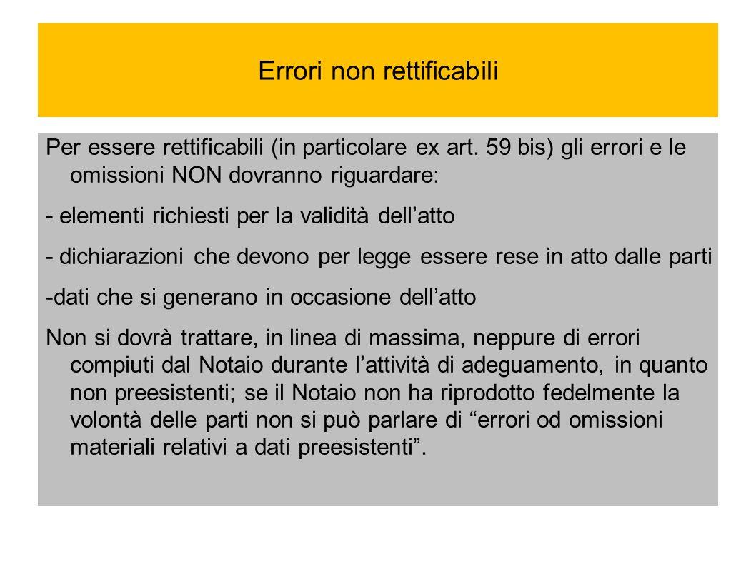 Errori non rettificabili