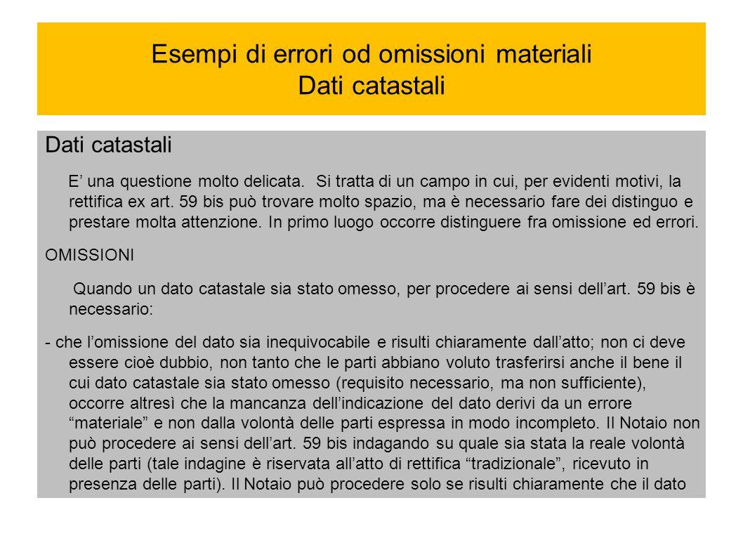Esempi di errori od omissioni materiali Dati catastali
