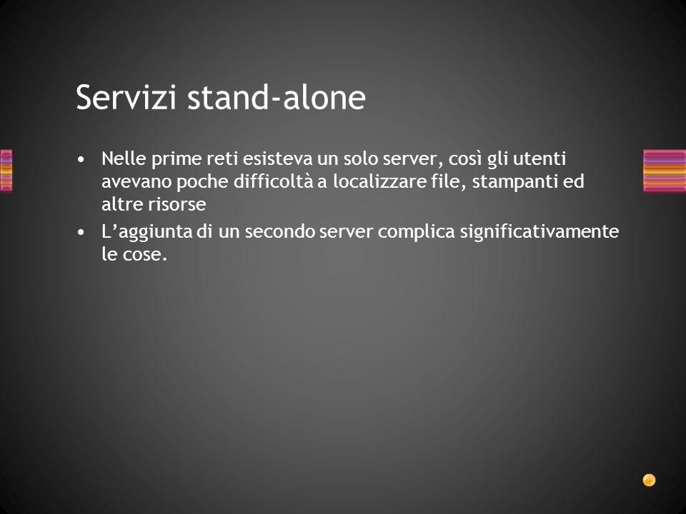 Servizi stand-alone Nelle prime reti esisteva un solo server, così gli utenti avevano poche difficoltà a localizzare file, stampanti ed altre risorse.