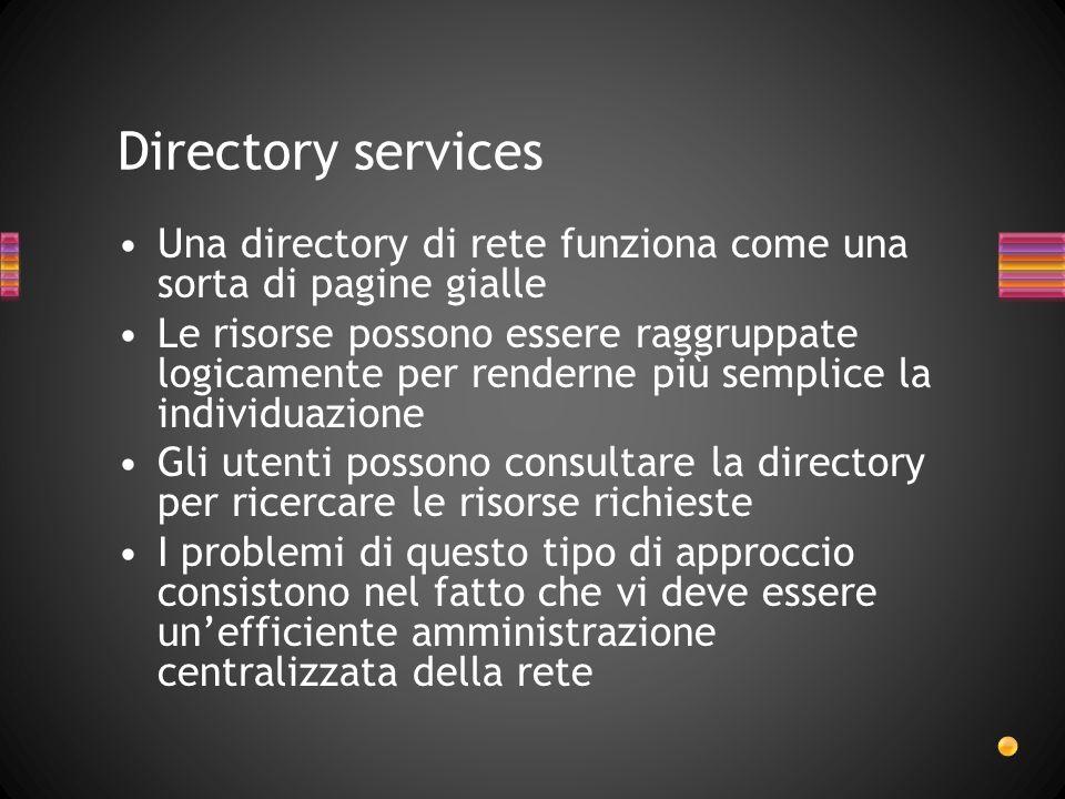 Directory services Una directory di rete funziona come una sorta di pagine gialle.