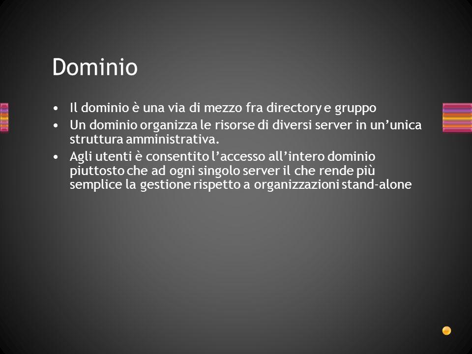 Dominio Il dominio è una via di mezzo fra directory e gruppo