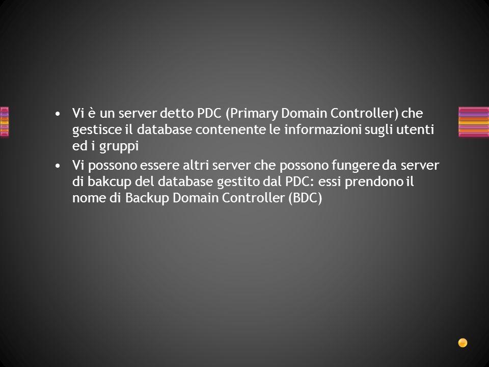 Vi è un server detto PDC (Primary Domain Controller) che gestisce il database contenente le informazioni sugli utenti ed i gruppi