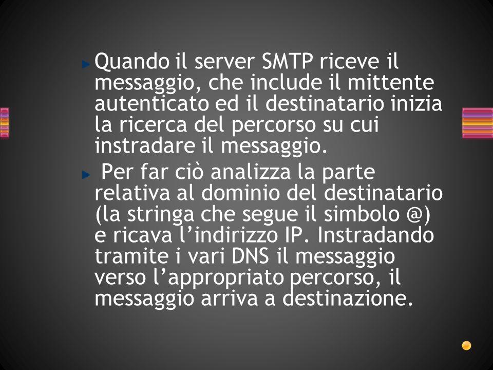 Quando il server SMTP riceve il messaggio, che include il mittente autenticato ed il destinatario inizia la ricerca del percorso su cui instradare il messaggio.