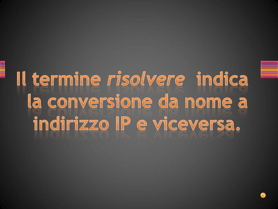 Il termine risolvere indica la conversione da nome a indirizzo IP e viceversa.