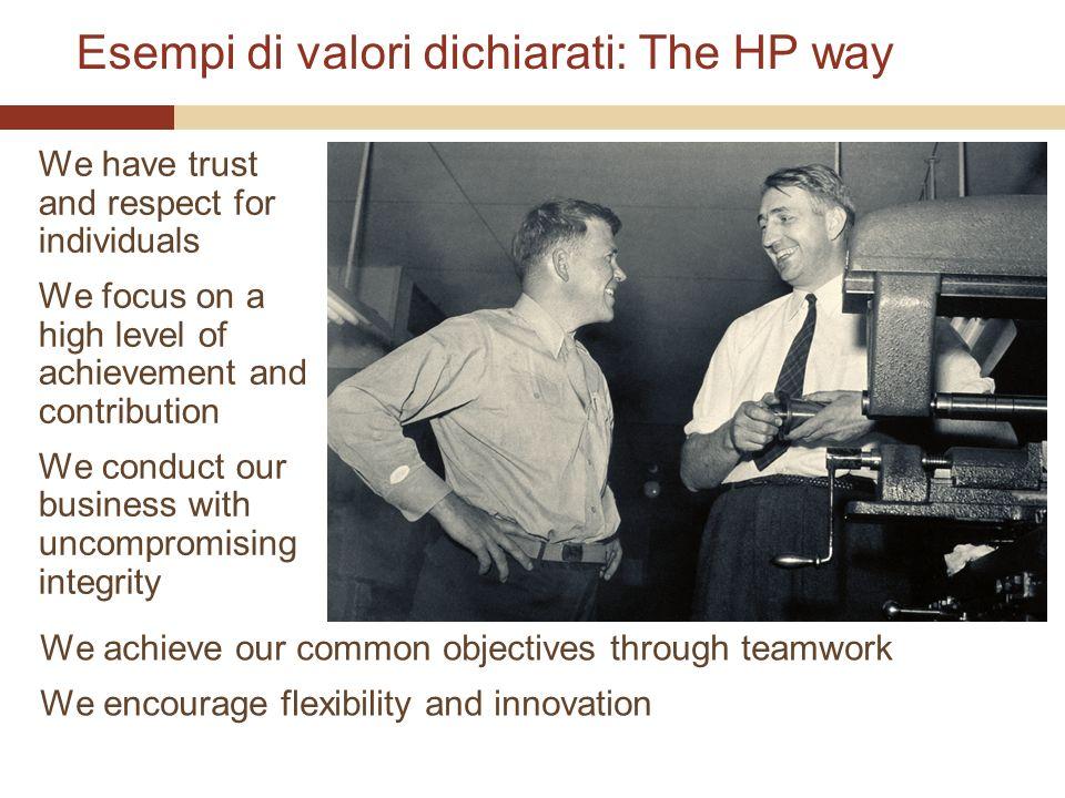 Esempi di valori dichiarati: The HP way