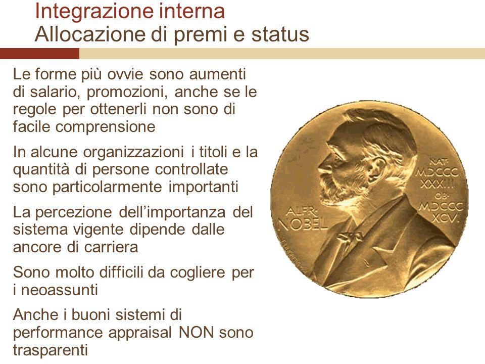 Integrazione interna Allocazione di premi e status