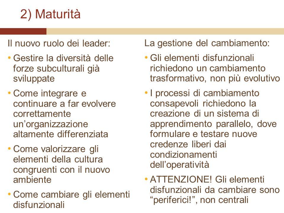 2) Maturità Il nuovo ruolo dei leader: La gestione del cambiamento: