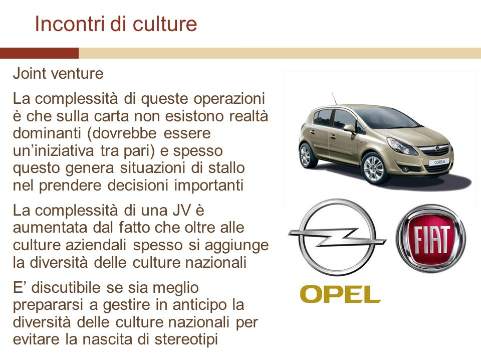 Incontri di culture Joint venture