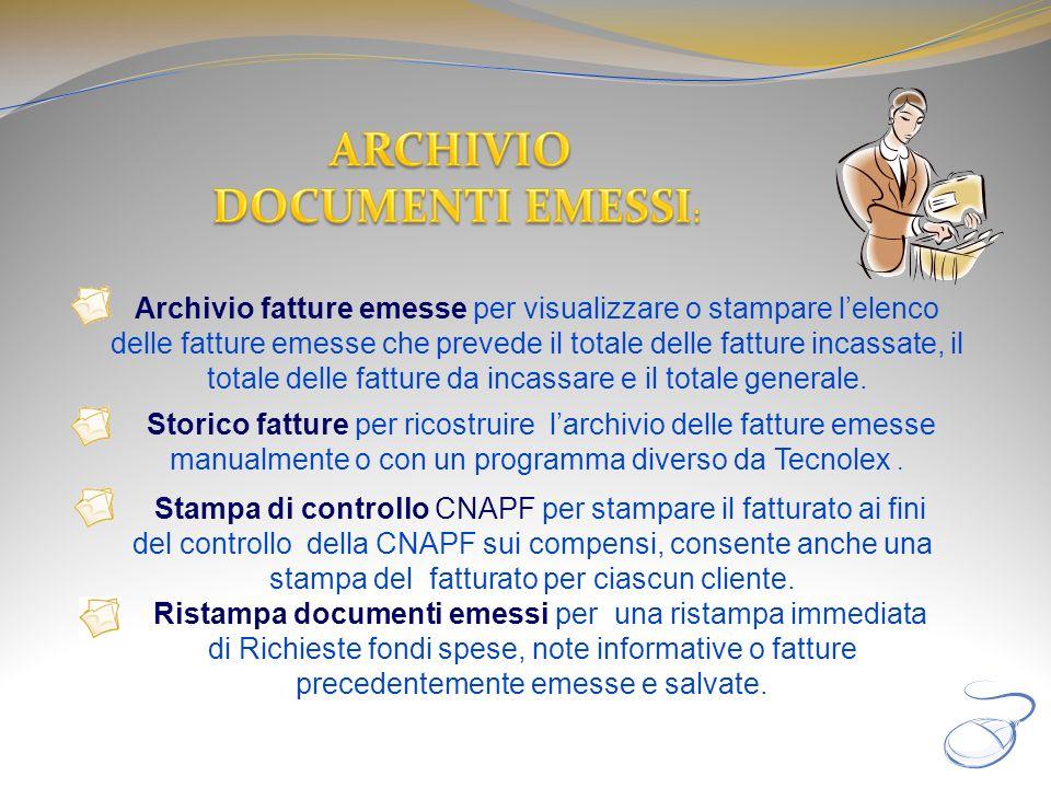 ARCHIVIO DOCUMENTI EMESSI: