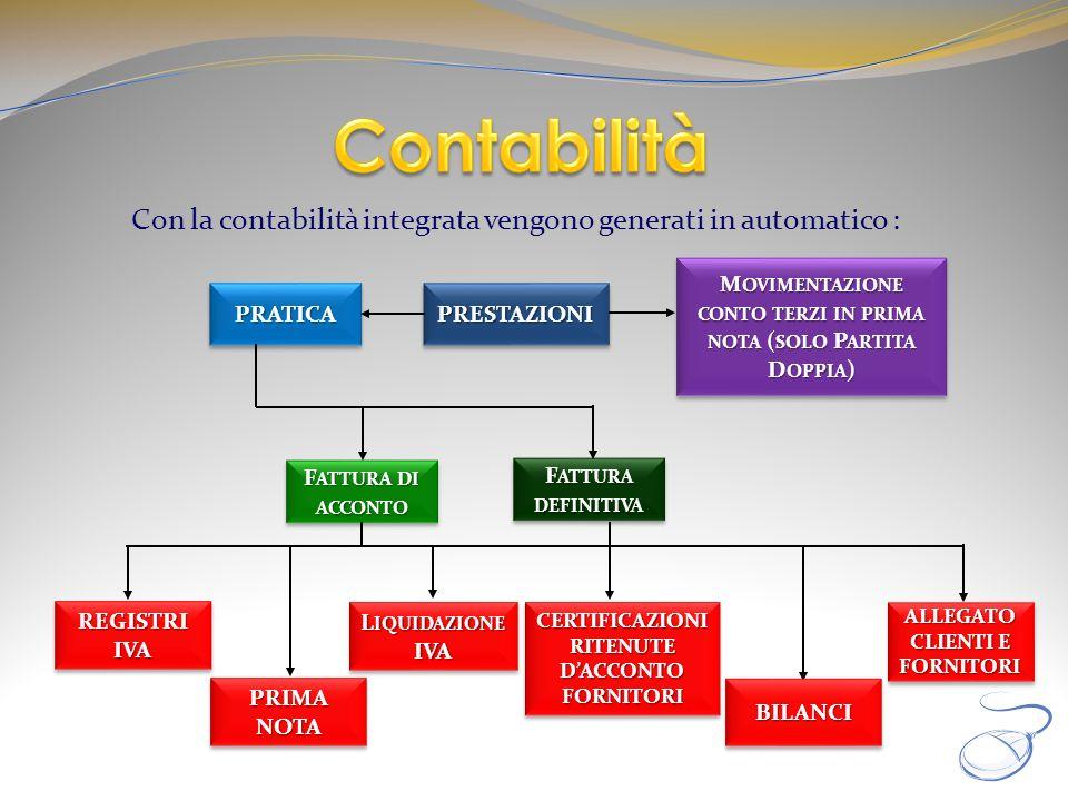 Contabilità Con la contabilità integrata vengono generati in automatico : Movimentazione conto terzi in prima nota (solo Partita Doppia)