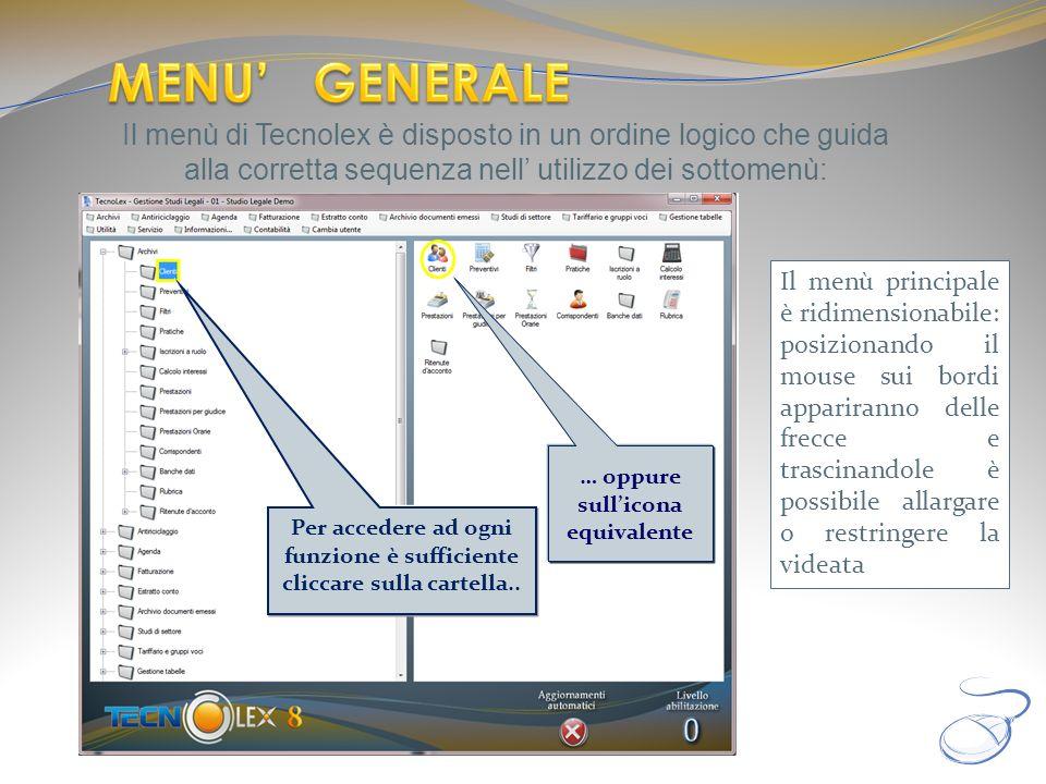 MENU' GENERALE Il menù di Tecnolex è disposto in un ordine logico che guida alla corretta sequenza nell' utilizzo dei sottomenù: