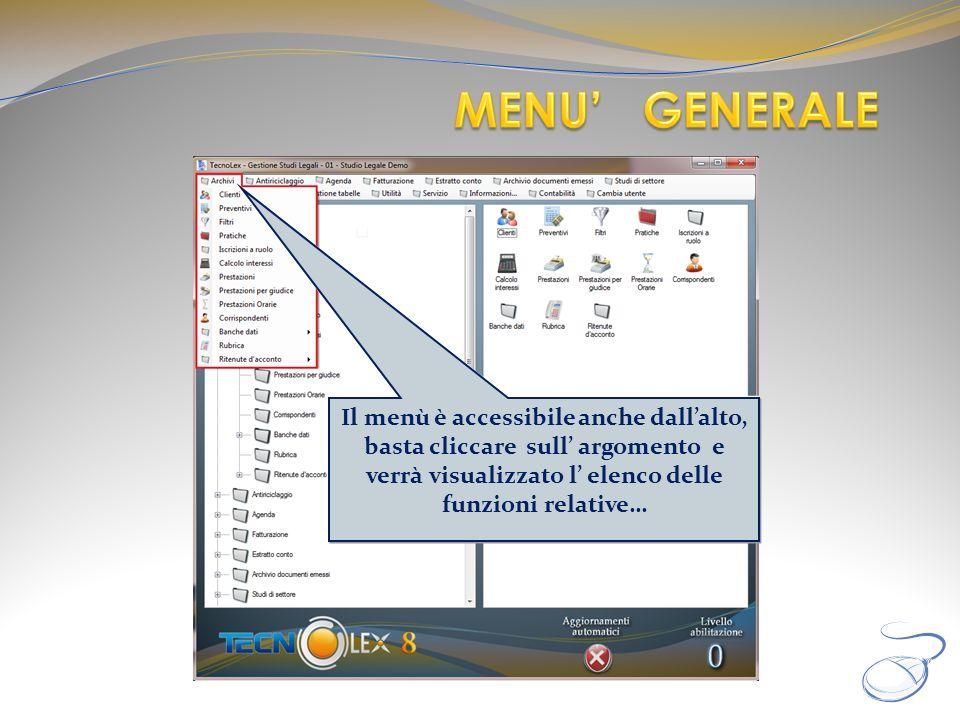 MENU' GENERALE Il menù è accessibile anche dall'alto, basta cliccare sull' argomento e verrà visualizzato l' elenco delle funzioni relative…