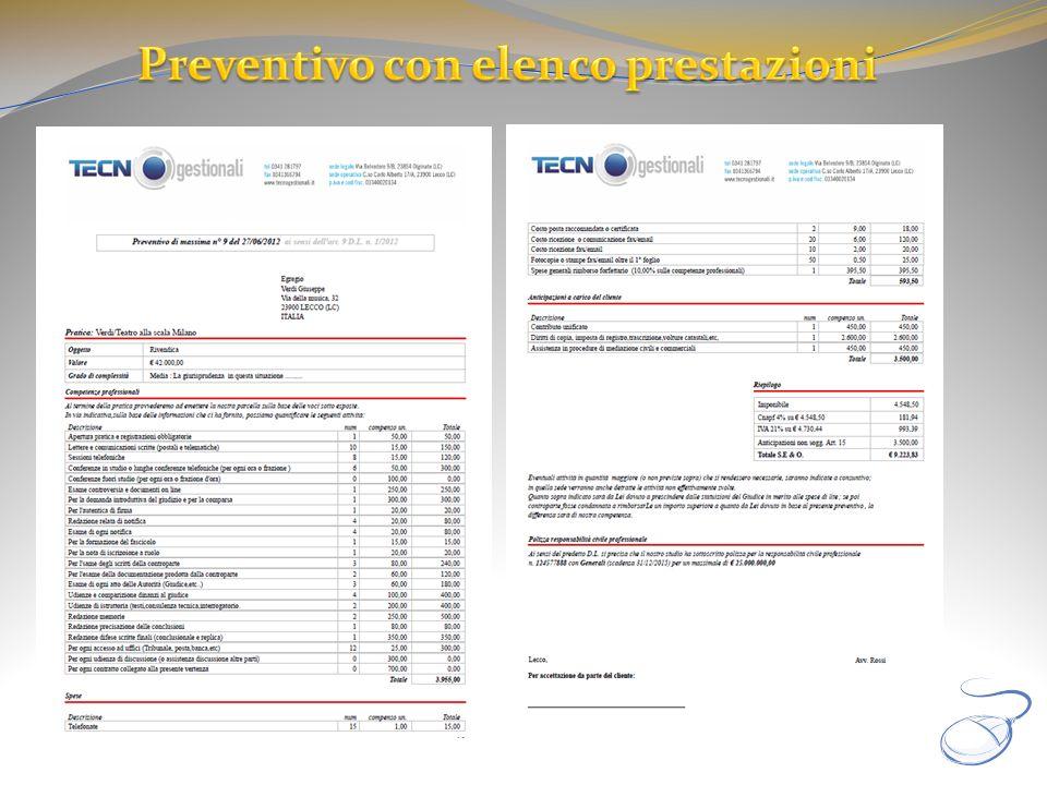 Preventivo con elenco prestazioni