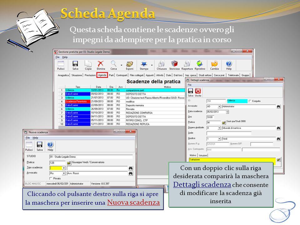 Scheda Agenda Questa scheda contiene le scadenze ovvero gli impegni da adempiere per la pratica in corso.