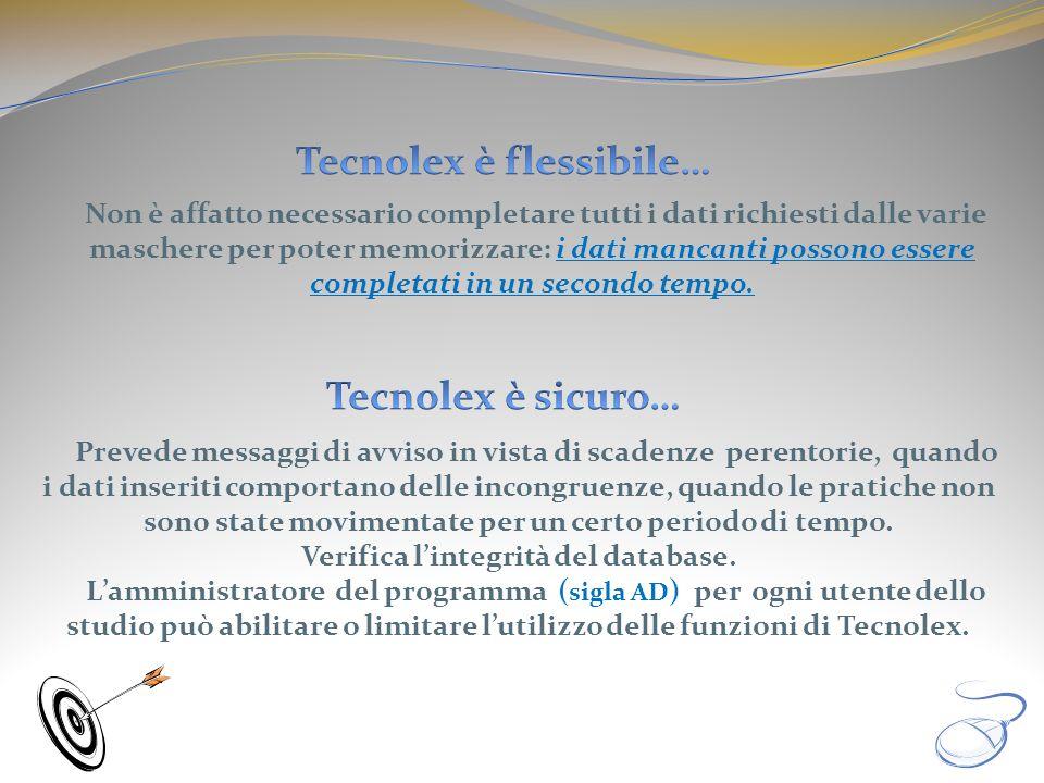 Tecnolex è flessibile… Verifica l'integrità del database.