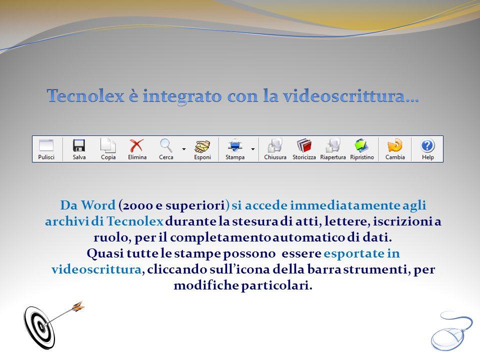 Tecnolex è integrato con la videoscrittura…