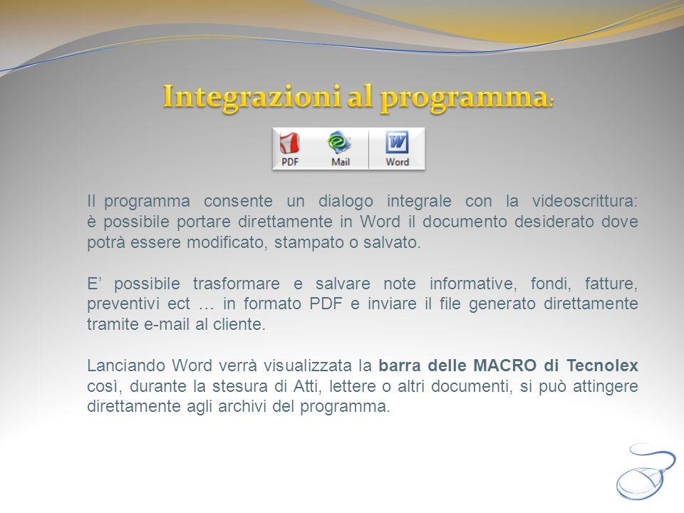 Integrazioni al programma: