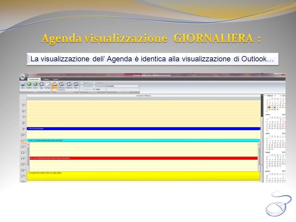Agenda visualizzazione GIORNALIERA :