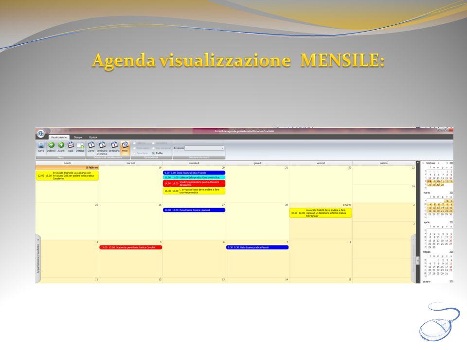 Agenda visualizzazione MENSILE: