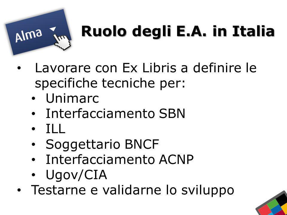 Ruolo degli E.A. in Italia