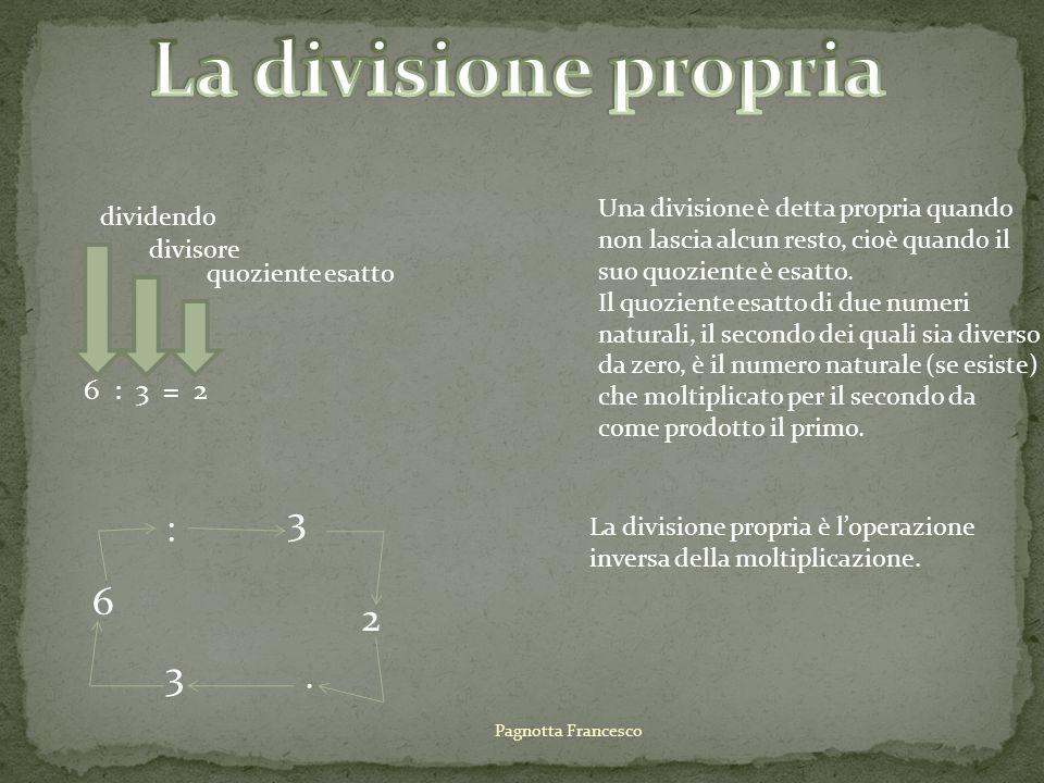 La divisione propria 3 : 6 2 3 . 6 : 3 = 2