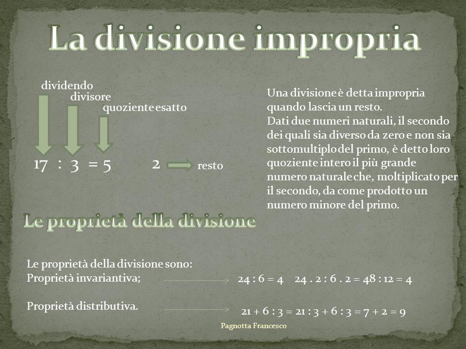 La divisione impropria Le proprietà della divisione