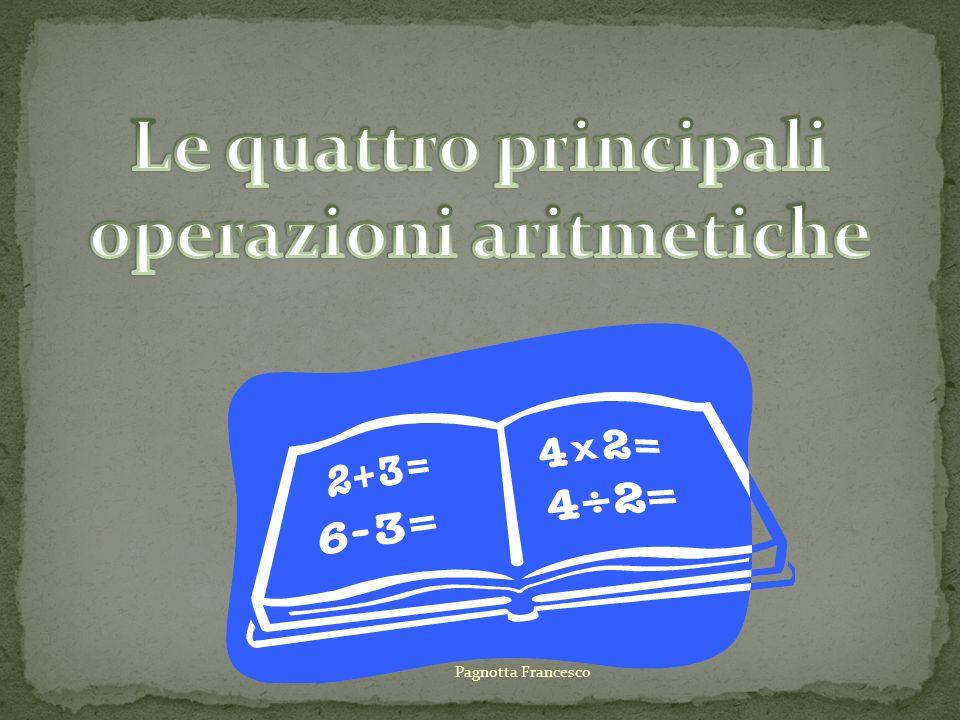 Le quattro principali operazioni aritmetiche
