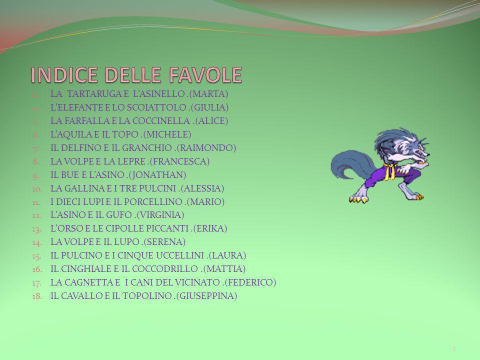 INDICE DELLE FAVOLE LA TARTARUGA E L'ASINELLO .(MARTA)