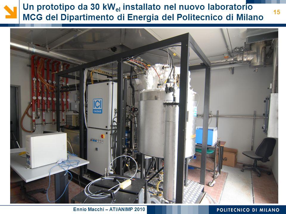Un prototipo da 30 kWel installato nel nuovo laboratorio MCG del Dipartimento di Energia del Politecnico di Milano