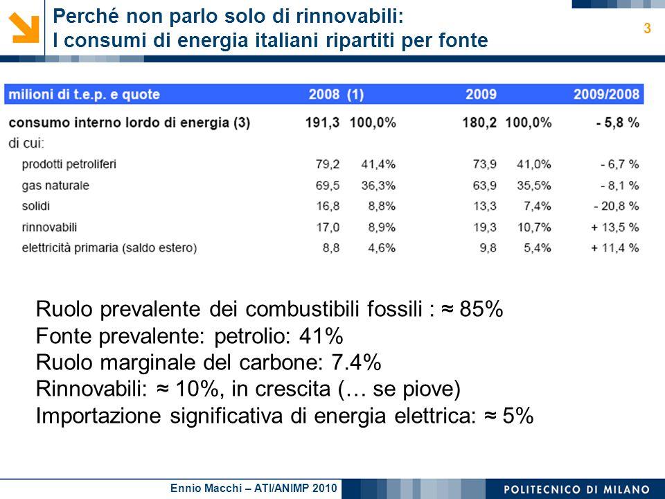 Ruolo prevalente dei combustibili fossili : ≈ 85%