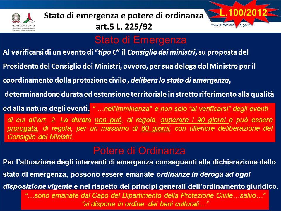 Stato di emergenza e potere di ordinanza art.5 L. 225/92