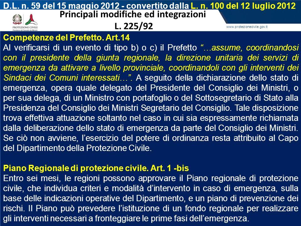 Principali modifiche ed integrazioni L. 225/92